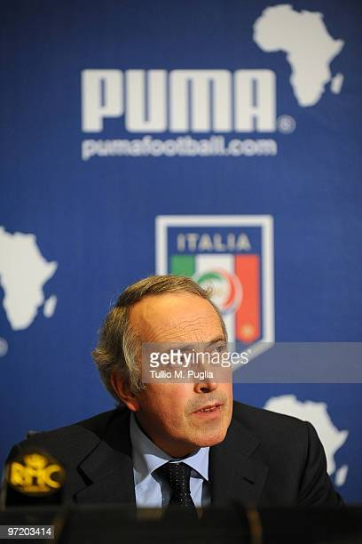 Giancarlo Abete President of FIGC looks on during the Puma unveiling of the new Italy kit for 2010 World Cup in South Africa at Coverciano on March 1...