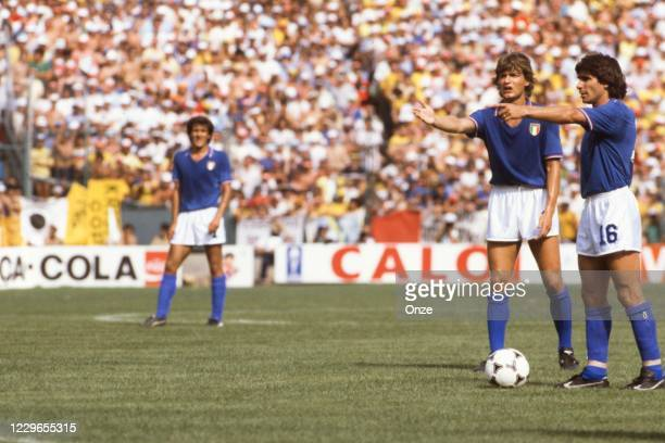 Giancarlo Antognoni and Bruno Conti of Italy during the second stage of the 1982 FIFA World Cup match between Italy and Brazil, at Sarria Stadium,...