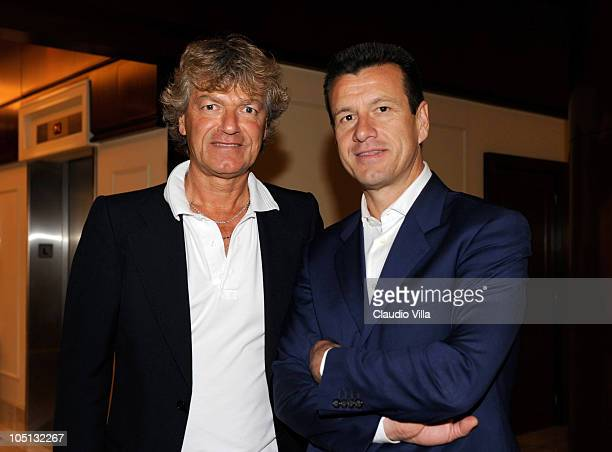 Giancarlo Antognoni and Carlos Dunga attend the Golden Foot Previews on October 10, 2010 in Monaco, Monaco.