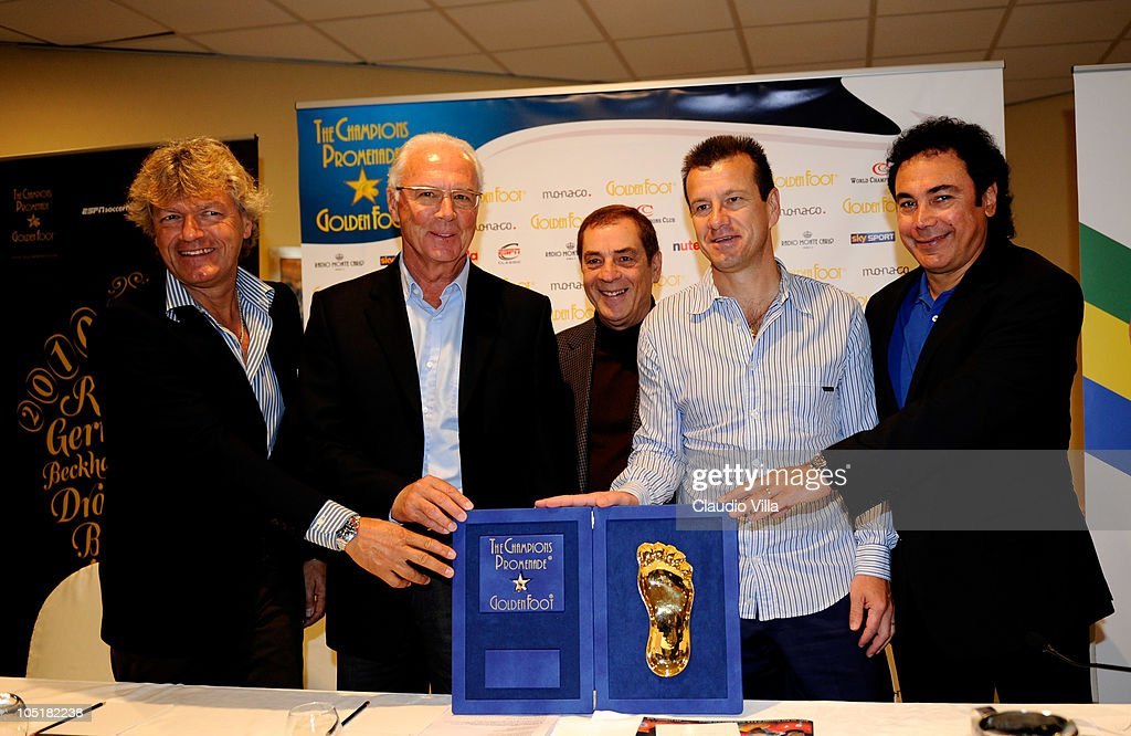 Giancarlo Antognoni, Franz Beckenbauer, Antonio Caliendo, Carlos Dunga and Hugo Sanchez posing with Golden Foot Awards during today's Press Conference at Fairmont Hotel on October 11, 2010 in Monaco, Monaco.