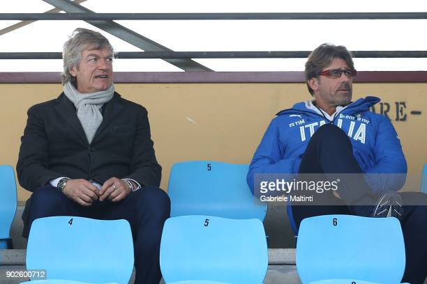 Giancarlo Antognoni of ACF Fiorentina and Luigi Di Biagio manager of Italy U17 during the at Coverciano 'Torneo Dei Gironi' Italian Football...