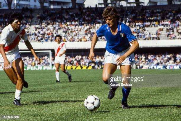 Giancarlo Antognoni of Italy during the World Cup match between Italy and Peru at Balaidos Stadium Vigo Spain on 18h June 1982