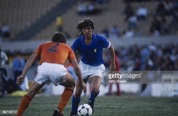 Giancarlo Antognoni of Italy runs with the ball during the 1976 European Champions Group 5 Qualifying match between Italy and Holland held on...