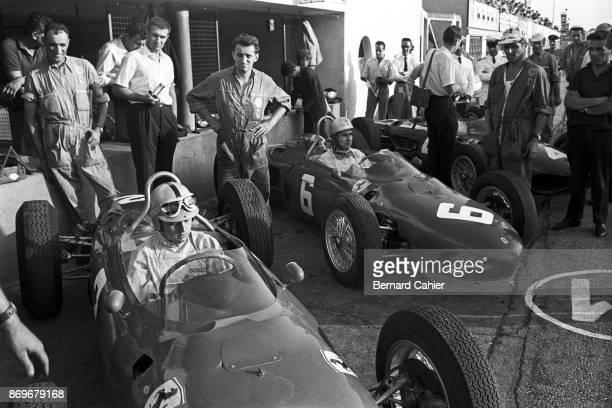 Giancarlo Baghetti Lorenzo Bandini Ferrari 156 Grand Prix of Italy Autodromo Nazionale Monza 16 September 1962 Ferrari teammates Giancarlo Baghetti...