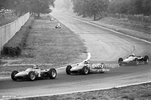 Giancarlo Baghetti Ricardo Rodriguez Willy Mairesse Ferrari 156 Grand Prix of Italy Autodromo Nazionale Monza 16 September 1962 Ferrari battle in...