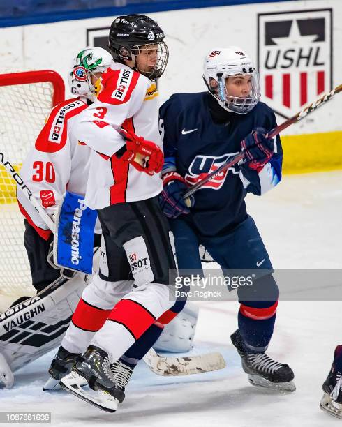 Giancarlo Chanton of the Switzerland Nationals battles for position with Landon Slaggert of the US Nationals during day2 of game two of the 2018...