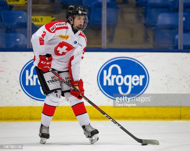 Giancarlo Chanton of the Switzerland Nationals skates up ice with the puck against the USA Nationals during day2 of game two of the 2018 Under17 Four...
