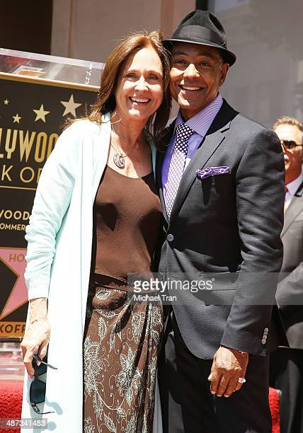 Giancarlo Esposito and Erin Gray attend the ceremony honoring Giancarlo Esposito with a Star on The Hollywood Walk of Fame on April 29 2014 in...
