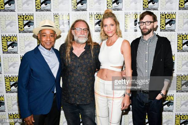 Giancarlo Esposito Greg Nicotero Tricia Helfer and DJ Qualls attend the 2019 ComicCon International Creepshow Photo Call at Hilton Bayfront on July...