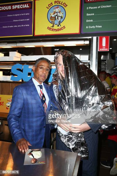 Giancarlo Esposito opens the Los Pollos Hermanos pop up restaurant on April 11 2017 in Sydney Australia The fictional chicken shop featured in the TV...