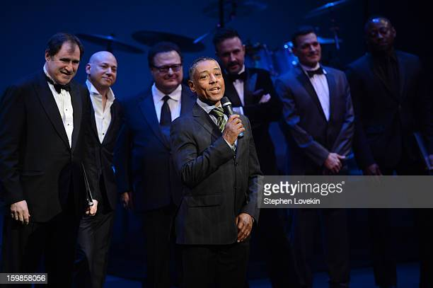 Giancarlo Esposito speaks onstage with Richard Kind Evan Handler Wayne Knight David Arquette Phillip Bloch and Omar Epps at The Creative Coalition's...