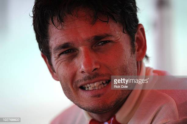 Giancarlo Fisichella of Italy and driver of the Risi Competizione Ferrari 430 GT during practice for the American Le Mans Series Larry H Miller...