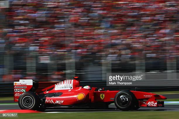 Giancarlo Fisichella of Italy and Ferrari drives during the Italian Formula One Grand Prix at the Autodromo Nazionale di Monza on September 13 2009...