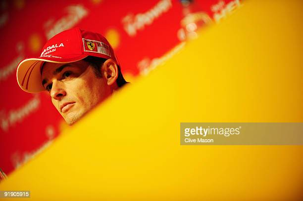 Giancarlo Fisichella of Italy and Ferrari talks at a press conference during previews to the Brazilian Formula One Grand Prix on October 15, 2009 in...