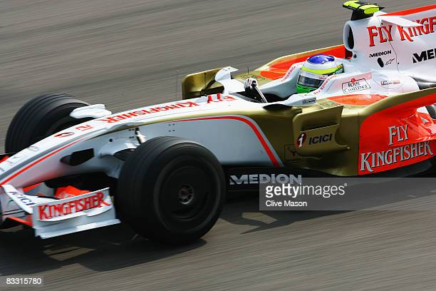 Giancarlo Fisichella of Italy and Force India drives during practice for the Chinese Formula One Grand Prix at the Shanghai International Circuit on...