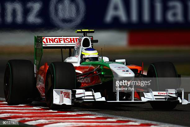Giancarlo Fisichella of Italy and Force India drives during practice for the Belgian Grand Prix at the Circuit of Spa Francorchamps on August 28 2009...