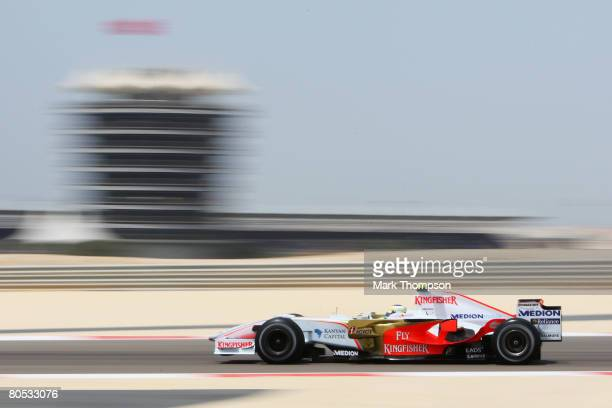 Giancarlo Fisichella of Italy and Force India in action during the warm up session prior to qualifying for the Bahrain Formula One Grand Prix at the...