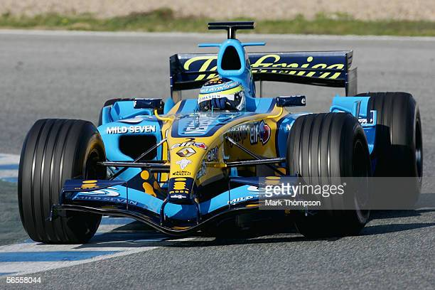 Giancarlo Fisichella of Italy and Renault drives the new R26 during Formula One testing on January 10 2006 at the Circuito De Jerez in Jerez Spain