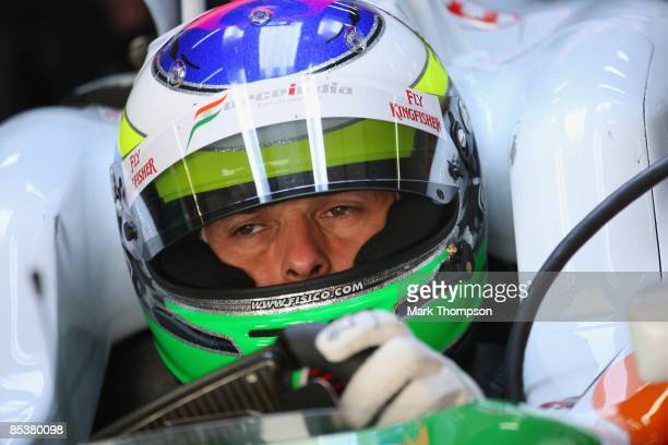 Giancarlo Fisichella of Italy and team Force India in action during formula one testing at the Circuit de Catalunya on March 11, 2009 in Barcelona,...