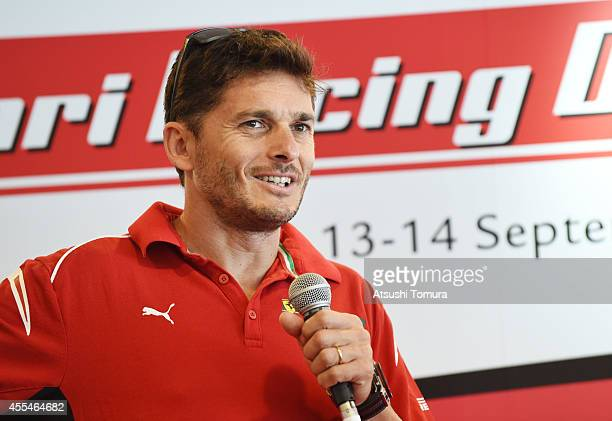 Giancarlo Fisichella of Italy attends a press conference as a part of Shell VPower Exciting Championship event during the Ferrari Racing Days at Fuji...