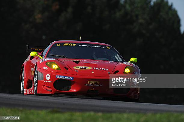 Giancarlo Fisichella of Italy drives the Risi Competizione Ferrari 430 Gt during practice for the American Le Mans Series MidOhio Sports Car...