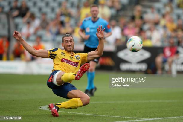 Giancarlo Gallifuoco of the Central Coast Mariners kicks at goal during the round 16 ALeague match between the Central Coast Mariners and the...