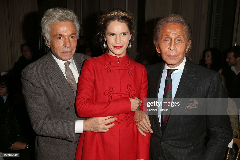 Giancarlo Giametti, Eugenie Niarchos and Valentino Garavani attend the Valentino Spring/Summer 2013 Haute-Couture show as part of Paris Fashion Week at Hotel Salomon de Rothschild on January 23, 2013 in Paris, France.