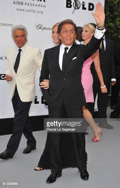 Giancarlo Giammetti and Valentino Garavani arrive at amfAR's Cinema Against AIDS 2008 benefit held at Le Moulin de Mougins during the 61st...