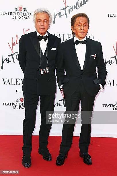 Giancarlo Giammetti and Valentino Garavani attend the 'La Traviata' Premiere at Teatro Dell'Opera on May 22 2016 in Rome Italy