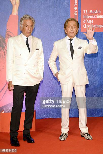 Giancarlo Giammetti and Valentino Garavani attend the premiere of 'Franca Chaos And Creation' during the 73rd Venice Film Festival at Sala Giardino...