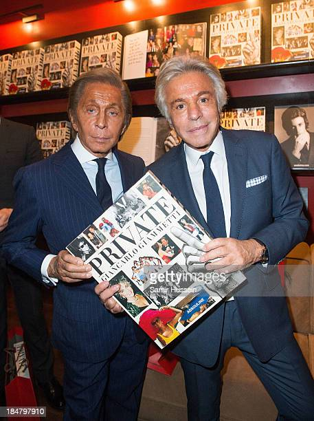 Giancarlo Giammetti and Valentino Garavani pose at 'Private Giancarlo Giammetti' Book Launch hosted by Assouline at Claridge's Hotel on October 16...