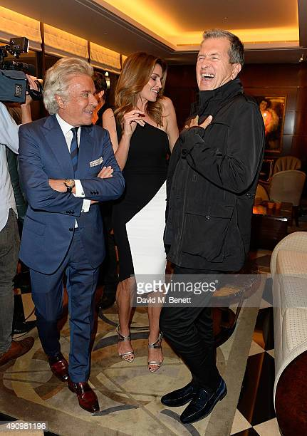 Giancarlo Giammetti Cindy Crawford and Mario Testino attend the London launch of Casamigos Tequila and Cindy Crawford's book 'Becoming' hosted by...