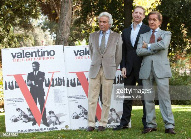 Giancarlo Giammetti director Matt Tyrnauer and Valentino Garavani attend a photocall for the movie Valentino The Last Emperor at the Casina Valadier...