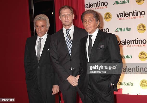 "Giancarlo Giammetti, director Matt Tyrnauer and Valentino Garavani attend ""Valentino: The Last Emperor"" premiere at Embassy Cinema on November 16,..."