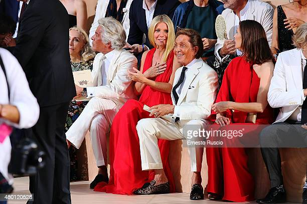 Giancarlo Giammetti Gwyneth Paltrow and Valentino Garavani attend the Valentino Mirabilia Romae Fashion show at Piazza Mignanelli on July 9 2015 in...