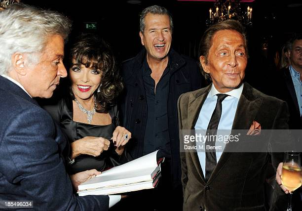 Giancarlo Giammetti Joan Collins Mario Testino and Valentino Garavani attend the launch of Joan Collins new book 'Passion For Life' at No41 Mayfair...