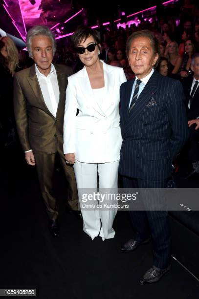 Giancarlo Giammetti Kris Jenner and Valentino attend the 2018 Victoria's Secret Fashion Show in New York at Pier 94 on November 8 2018 in New York...