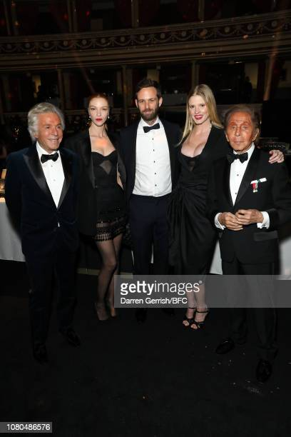 Giancarlo Giammetti Maria Carla Boscono David Grievson Lara Stone and Valentino Garavani during preceremony drinks at The Fashion Awards 2018 In...