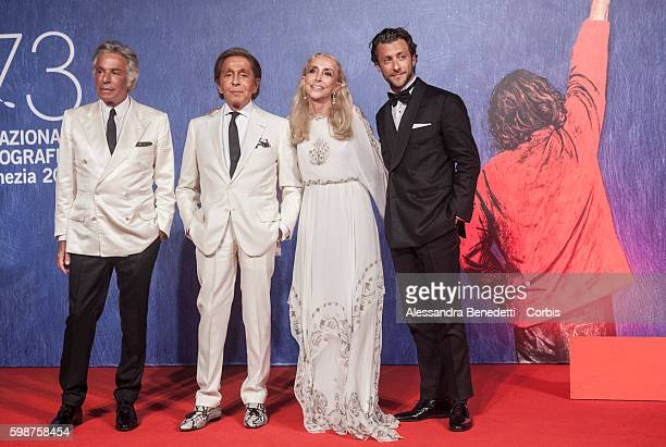 Giancarlo Giammetti Valentino Garavani Franca Sozzani and Francesco Carrozzini attend the premiere of FRANCA Chaos and Creation during the 73rd...