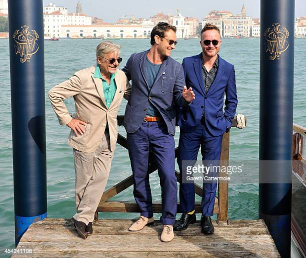 Giancarlo Giannini Jude Law and Jake Scott arrive at the Cipriani Hotel during Venice Film Festival to showcase short film The Gentleman's Wager in...
