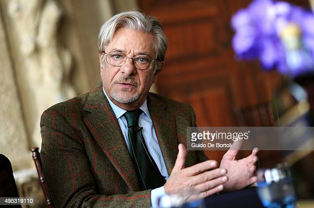Giancarlo Giannini pictured before the global premiere of Johnnie Walker Blue Label's The Gentleman's Wager II at Villa Mondragone on October 31 2015...