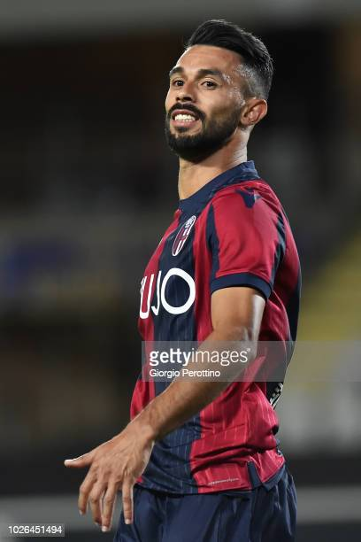 Giancarlo Gonzales of Bologna FC reacts during the serie A match between Frosinone Calcio and Bologna FC at Olimpico Stadium on August 26 2018 in...