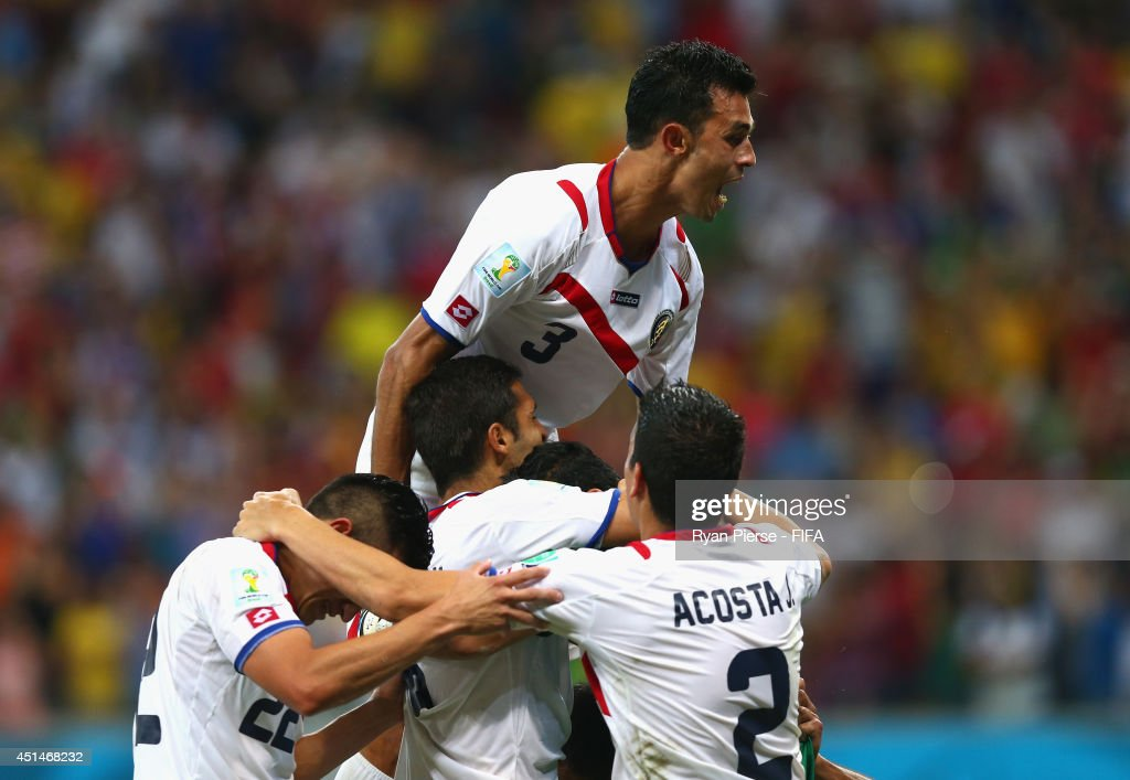 Giancarlo Gonzalez of Costa Rica celebrate victory after the 2014 FIFA World Cup Brazil Round of 16 match between Costa Rica and Greece at Arena Pernambuco on June 29, 2014 in Recife, Brazil.