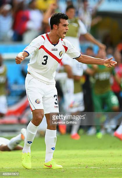 Giancarlo Gonzalez of Costa Rica celebrates after defeating Italy 1-0 during the 2014 FIFA World Cup Brazil Group D match between Italy and Costa...