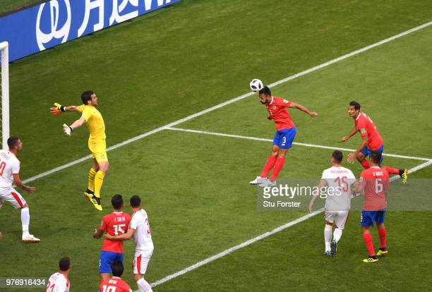 Giancarlo Gonzalez of Costa Rica heads towards goal during the 2018 FIFA World Cup Russia group E match between Costa Rica and Serbia at Samara Arena...