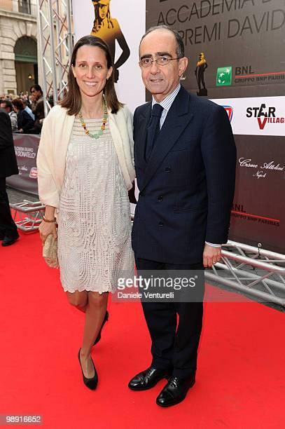 Giancarlo Leone and wife attend the 'David Di Donatello' movie awards at the Auditorium Conciliazione on May 7 2010 in Rome Italy