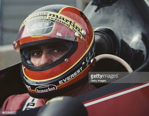 Giancarlo Martini of Italy sits aboard the Scuderia Everest Ferrari 312T during the XXVIII BRDC Graham Hill International Trophy on 11 April 1976 at...