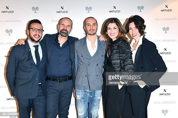 Giancarlo Renna, Gaetano Leogrande, Alessandro Pera, Eleonora Pera and Olivia Azario attend Natuzzi Soul Landscapes on April 12, 2016 in Milan, Italy.