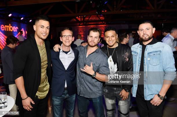 Giancarlo Stanton Clay Alexander Dave Osokow A J Ramos and Ricky Nolasco at Ember Celebrates VIP Launch Event with Iggy Azalea on November 8 2017 in...