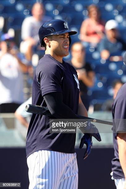Giancarlo Stanton gets ready to step into the batting cage during the New York Yankees spring training workout on February 19 at George M...